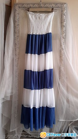 Blue & White-Casual-summer-beach-2-use-skirt-dress-Size-S-M