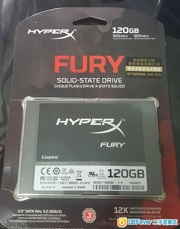 95%新 Kingston HyperX Fury 120G SSD 有單有盒有保養