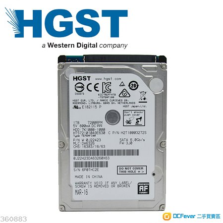 HGST 500Gb 2.5' 7mm notebook硬盘 + 預裝正版 Windows 10 Pro / Win 7 Ultimate