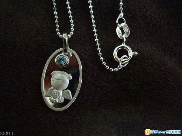 周大福 CTF 925 純銀 Silver 天使娃娃藍晶吊墜頸鏈 吊咀 頸鍊 項鍊 項鏈 銀鍊 銀鏈 全新正貨
