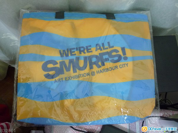Smurf 藍精靈 海港城 沙灘袋及套裝, 包括沙灘蓆, 毛巾在內, 另加送智多星 Brainy 手扇