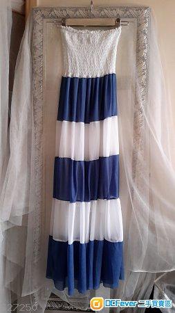 Blue & White-Casual-summer-beach-2-use-skirt-dress-Size-S-M