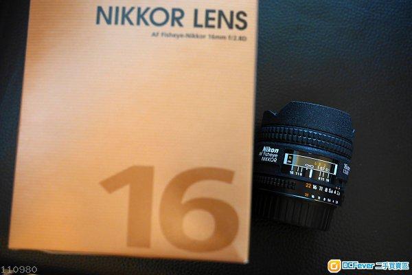 99% 新 Nikon AF Fisheye-Nikkor 16mm f/2.8D 行貨有盒有單有保配件全齊