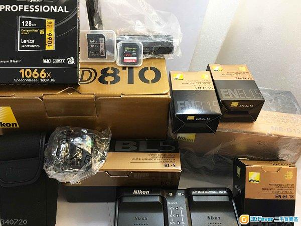 全新一樣Nikon D810有長保行貨SC388,8千幾蚊原裝配件包括直倒,D5電,MH-26充電器,BL-5直倒電池蓋可換D500/D4