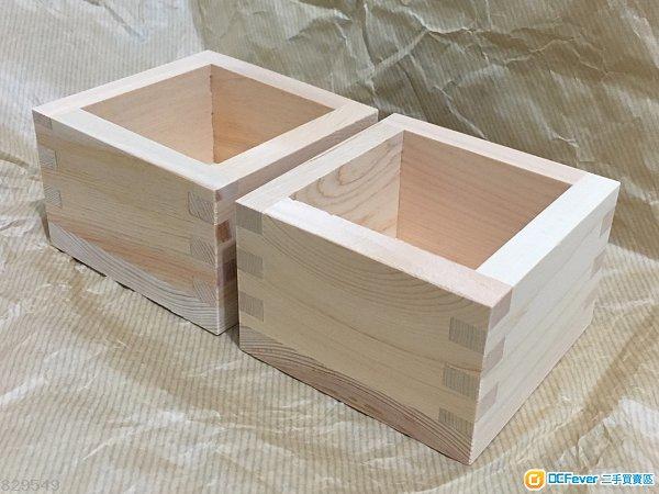 【全新】日本清酒方形木製杯兩隻