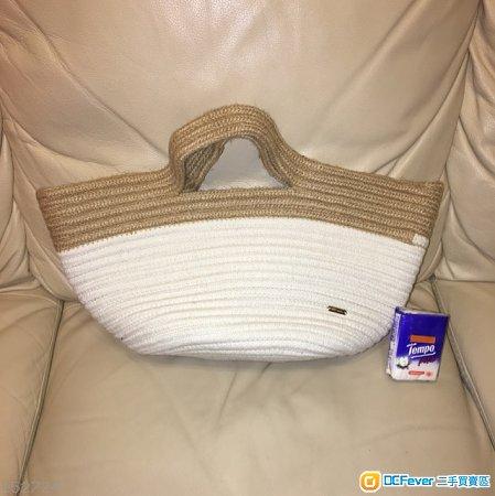 100%全新日本 nico and... 白色/淺啡色麻織手提袋