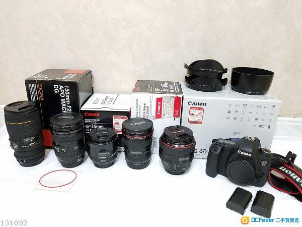 Canon 6D EF 85mm 1.2 LII USM EF 35mm f2.0IS EF17-40 4L EF24-105 4L