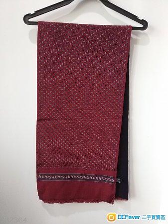 英國製全新男士新年紅羊毛真絲圍巾scarf not DG hermes Lv Gucci Dior prada zegna burberry
