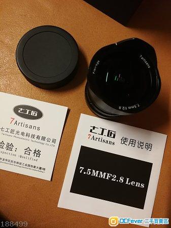 七工匠7.5 mm f 2.8 魚眼鏡,99%新