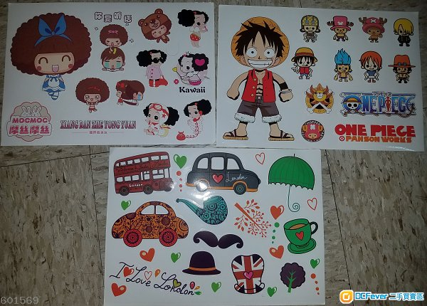 全新海盗王One Piece 摩丝摩丝MOCMOC I Love London Stickers A4大貼纸 3張一套賣 - 包郵