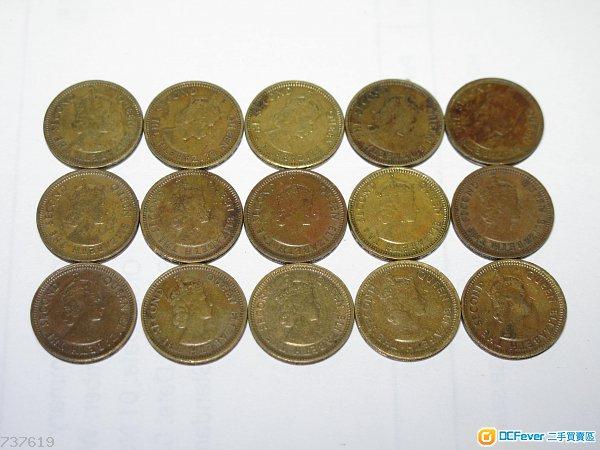 香港1963, 1965, 1967年5仙硬幣各5枚 (共15枚)