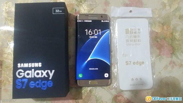 出售行貨99% 金色 samsung s7 edge 32gb g9350 雙卡。全套有盒齊配件。送套。
