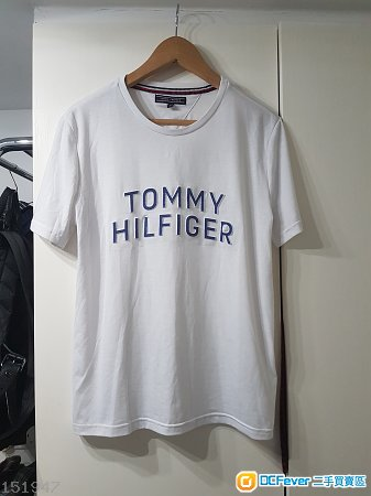 Tommy Hilfiger 白色短䄂全绵立體logo M碼