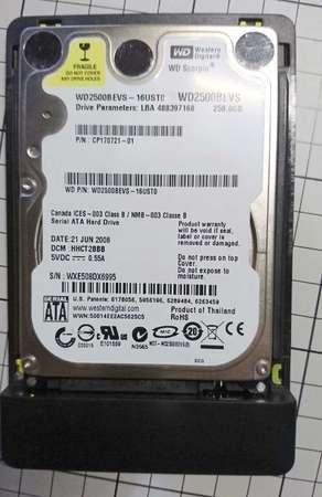"2.5"" 吋HDD Western Digital WD2500BEVS 250GB 連Orico 盒 USB3.0 5400 rpm"