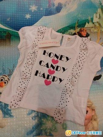 日本購入 Bb 衫 西松屋 nishimatsuya baby girl top 女孩 女童 幼兒 1歲 12個月 90cm