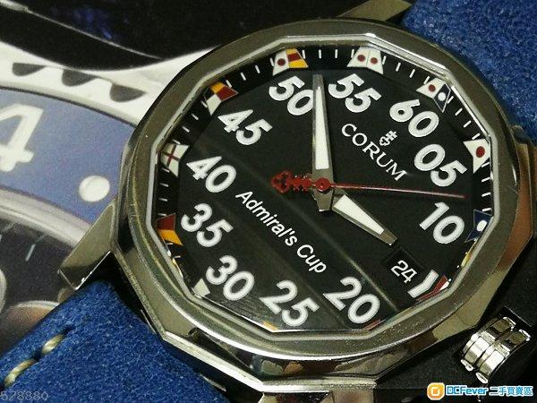 可交換CORUM 瑞士名錶崑崙海軍上將型 淨錶代用皮帶九成新淨螺絲鎖吧 42mm連的 not rolex