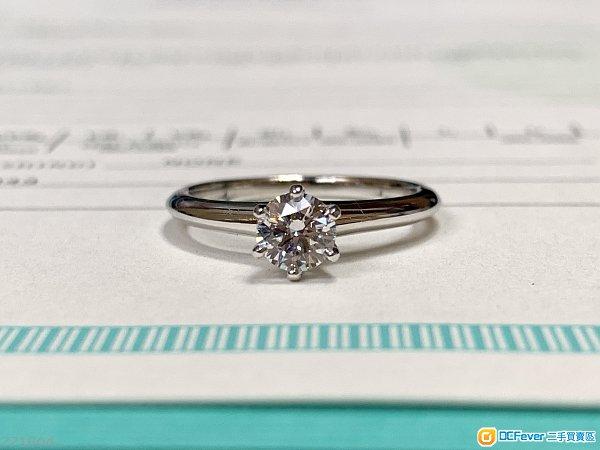 Tiffany 0.41ct F VVS1 3EX NON 齊証書-PT950白金Tiffany六爪經典款鑽石戒指