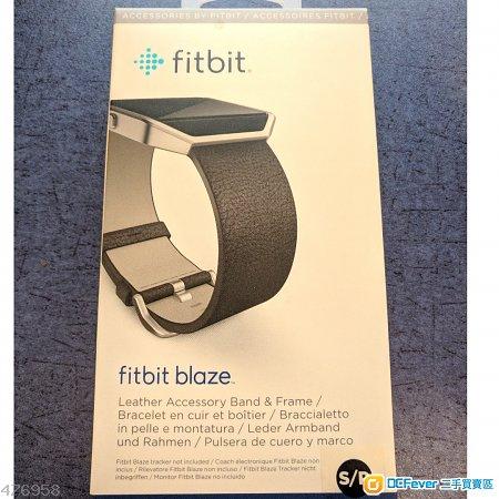 全新 Fitbit Blaze 真皮黑色原裝智能錶帶/手帶