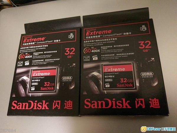 3張Sandisk 32GB Compact Flash (CF)