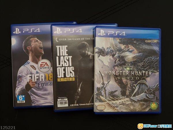 PS4 - Monster Hunter $180 /Last of Us Remastered $80 /Fifa 18 $60