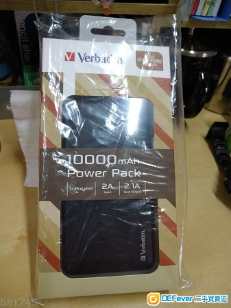 Verbatim 10000mAh 2.1A dual Output 黑色 100%