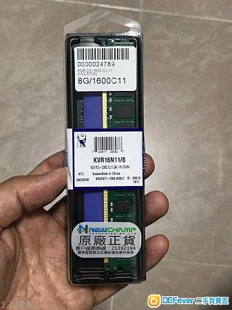 Kingston DDR3, 8GB D3-1600 CL11, 100%全新